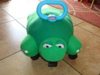 Little Tikes Ride on soft Turtle.  Measures about 22