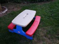 For sale: Kids size plastic picnic table.  Made by