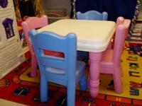 VERY NICE TABLE WITH 2 PINK AND 2 BLUE CHAIRS.
