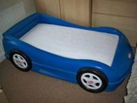 little tikes race car bed (blue). This bed has some
