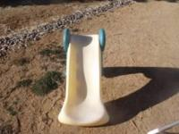"Yellow slide Steps are a green color Approx. 24"" high"