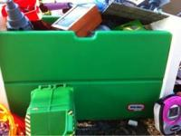 Green and white little tikes toy box needs to be wiped