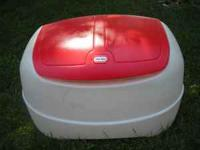 LITTLE TIKES TOYBOX IS WHITE WITH A RED LID. APPROX.