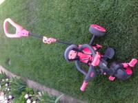 Neon pink/black 3-in-1 trike 5 point safety belt