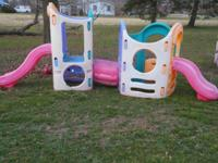Great condition. No cracks. It has 2 slides and crawl