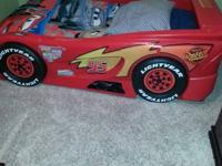 Lightning McQueen bed fits single mattress. $200