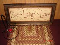 LIVE LOVE LAUGH SIGN PICTURE AND STAR TEALIGHT WITH