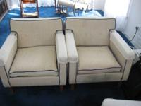 "Plaid couch, 61"" wide, 35"" deep,  Beige chairs with"