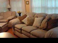 3 pc. living room group: White/Beige Over sized  Sofa ,