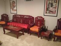 Complete living room set. Asian themed carved Rosewood