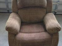 Reclining couch, chair and loveseat. Brown woven fabric