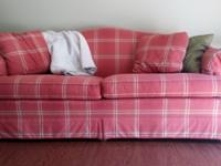 Red/Pink patterned sofa and matching chair for sale!