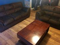 Microfiber sofa and love seat-- great condition, with