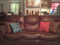 Beautiful soft brown leather sofa, loveseat, recliner,