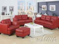 mRed leather sofa and chair just 20.99 per week with a