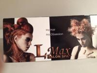 Certificate at Lmax Salon Spa! The following service