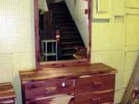 We have this local made cedar dresser with mirror. This