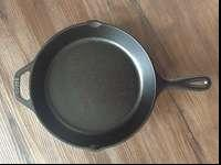 "I have a ""lodge"" brand cast iron skillet, used once."