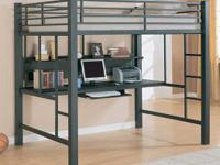 Heavy duty, full-size loft bed with guard rails and