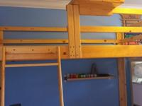 Yellow-pine, twin-size loft bed, with ladder, railing