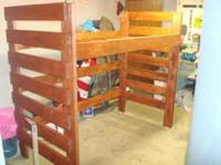 Solid wood loft beds. $400 for twin bed, stained in