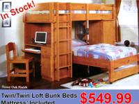 LOFT BUNK BED,BOTH MATTRESS AND CHAIR INCLUDED IN