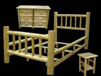 Log bedroom set, any size bed, large dresser, and night