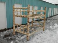 This twin size log bunk bed is for sale.Other log bed
