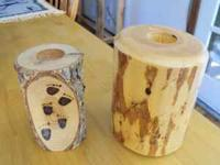 log candle holders, both for 10.00 , will hold a small