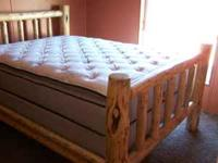 This hand peeled log bed will add a rustic charm to