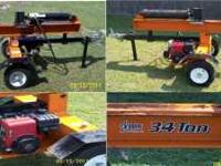 Log Splitter, 34 Ton Hydraulic, 10 hp Tecumseh engine.