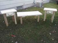 LOG COFFEE TABLES $40 EACH LOG NIGHTSTANDS $30 EACH