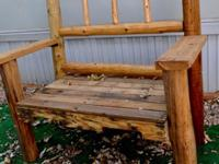 Hand crafted log benches with re-purposed lumber. 4 in