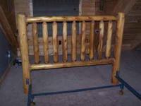 Custom made queen size log headboard. Also comes with
