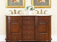 London Double Sink White Bathroom Vanity -