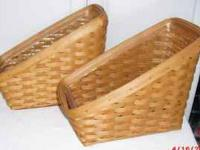 "Longaberger magazine baskets each is 15"" wide x 9"" tall"