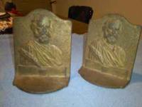 A vintage pair of Henry W. Longfellow bookends cast