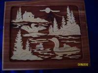 Red cedar self framing lakeside picture with loon. Hand