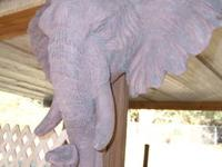 """Plaster"" NOT Plastic Elephant Head Decor Piece Unusual"