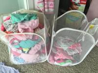 Huge box of baby girl clothes. All size newborn and 0-3