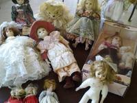 Selling a great deal of 10 collectible dolls. Some are
