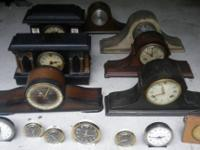 LOT OF 15 ANTIQUE CLOCKS INCLUDE INGRAHAM, NEW HAVEN,