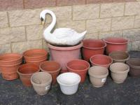 Lot of 17 Pots + Swan $27 (price reduced 9/26/13)