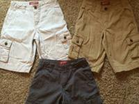 Lot of 3 pair boy's Arizona Cargo shorts Colors: Khaki,
