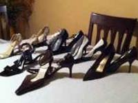 Lot of 5 slightly used high end womens designer shoes.