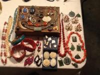 Lot of 56 pieces of vintage gemstone jewelry. All is in