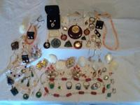 Lot of 67 pieces of vintage gemstone jewelry. All of it