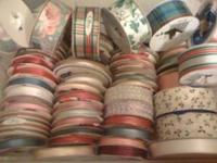 Lot of assorted ribbon, pictured below. Several dozen