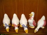 A total of 5 Ceramic Ducks in very good condition.