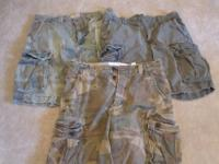 here's a lot of men's cargo shorts: camoflauge from